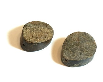 30mm Natural Stone Beads / Rock Beads / Drilled Stones / Drilled Rocks / SET OF TWO