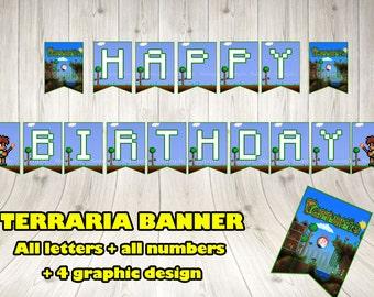 TERRARIA BANNER. Terraria party banner.Terraria printable banner.Terraria birthday .Terraria pennant.Terraria decoration. Terraria game