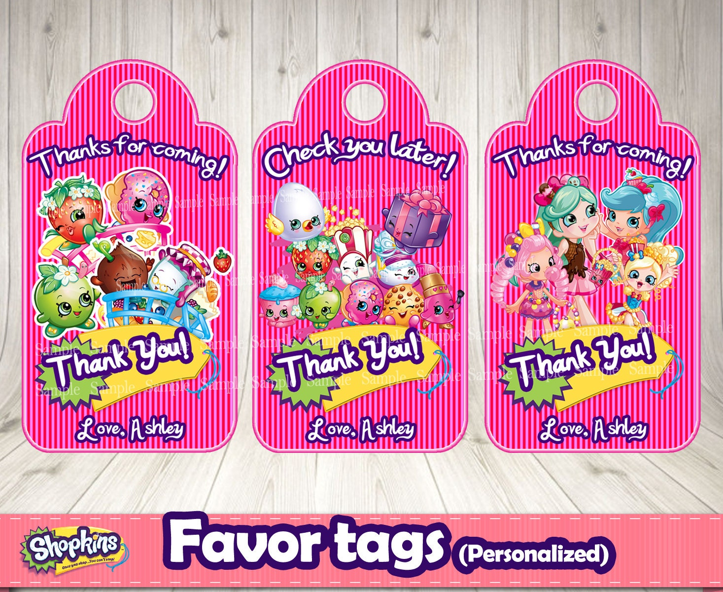 SHOPKINS FAVOR TAGS personalized Shopkins by DecorationsLeon