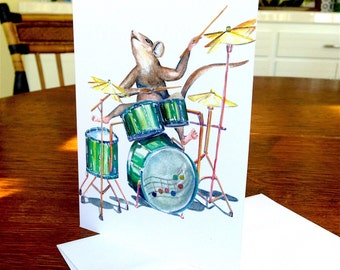 Mouse Card, Music Card, Musical Mouse Card, Mouse, Mice, Drummer, Musical Mouse, Animal Card, Happy Birthday, Celebration, Musician