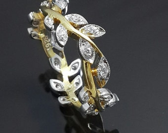Yellow and white leaf ring sterling silver