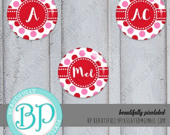 Pink & Red Polkadot - Editable Bottle Cap Images - Digital Collage Sheet - 1 Inch Circles for Bottlecaps, Hair Bows, Pendants