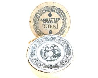 French Vintage Dessert Plates / Vintage Gien Dessert Plates Set of 6 / Vintage Ceramic plates