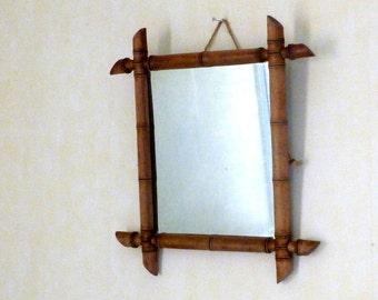 French vintage faux bamboo mirror / Wooden mirror / Wall Decor / Farmhouse Decor