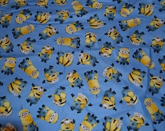 Minions Fabric Blue Background Fat Quarters 100% cotton