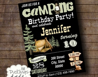 Camping Party Birthday Invitation, camping birthday invite, Printable Digital Invitation, A179