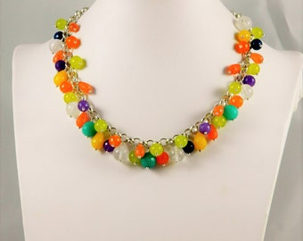 Choker necklace with quartz stones jade and multicolor agate