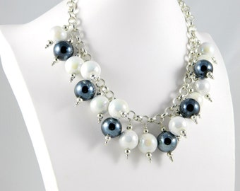 Necklace choker white and dark gray ceramic pearls