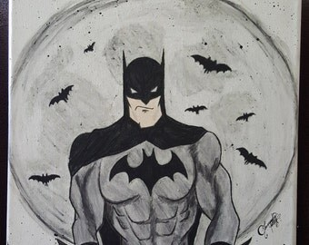 Batman - Watercolor/Color Pencil Painting on Canvas