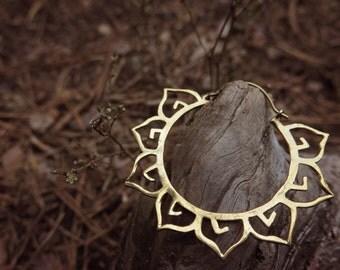 SALE!!! Lotus Brass Earrings