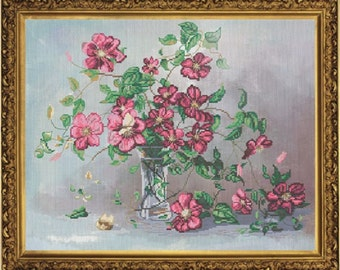 Clematis. Kit for Cross Stitch Embroidery