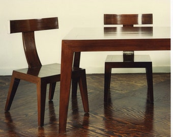 Mid century modern chair , Mid century modern polished sleek wood dinning toom chairs with a T back