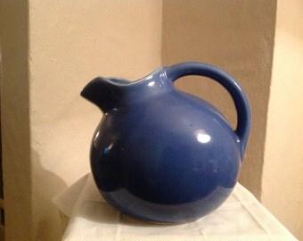Vintage blue pitcher, American pottery