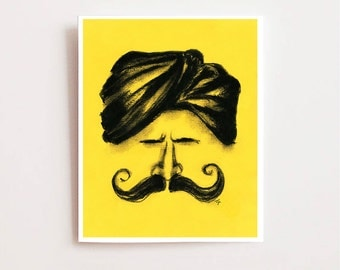 """Fathers day, """"Man with mustache"""", Fine art Giclee print, charcoal drawing, wall art for men, Indian art, wall decor, fathers day gift"""