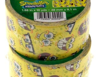 "4 Spongebob Squarepants Duct Tape, Duck Tape, Made in USA, Each Roll 1.88"" x 10 yd, Wallet Crafts Decorating"