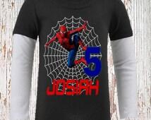 Spiderman Birthday Shirt - Raglan Options Available