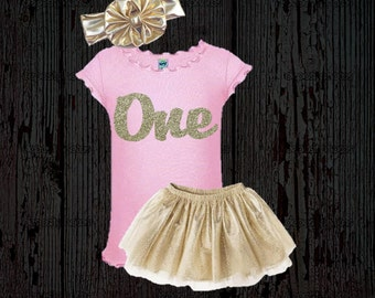 First Birthday Tutu Outfit Set - Gold and Pink First Birthday Tutu Outfit with glitter