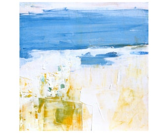Beach abstract original oil painting 12 x 12 modern blues whites Dallas artist Paul Ashby ready to hang contemporary Cottage Chic MCM