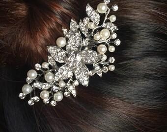 Wedding hair comb, Pearl bridal hair comb, bridal hair accessories, wedding hair accessories, crystal hair comb, vintage comb 19