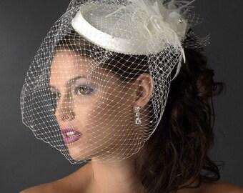 Birdcage Veil Hat Fascinator, Bridal fascinator, Bridal Hat, wedding hat, bridal birdcage veil