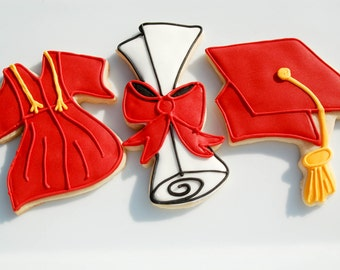 Graduation Cookies gown, cap and scroll