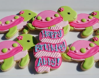 Turtle Cookies with Banner