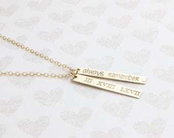 Dainty Roman Numeral 2pcs 14k gold filled Necklace, Nameplate Necklace, Dainty Personalized Bar Necklace, words Long Charm, Bridesmaid Gift
