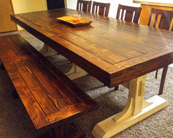 Long Farmhouse Dining Table with Two Full Length Benches