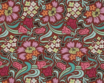 HALF METRE Amy Butler Soul Blossoms - Joy Disco Flower in Chocolate