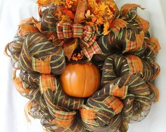 24 in. Fall Wreath, Fall Pumpkin Wreath, Orange & Brown Wreath, Front Door Wreath, Poly Mesh Wreath