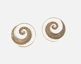 Brass spiral,Brass spiral Earrings,Tribal Jewellery, indian earrings, tribal earrings, Gypsy hoops