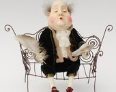 """OOAK art doll """"King of Goodwill"""", interior doll, collectable, king, bench, unique, paper clay doll, OOAK doll, art doll, home decor"""