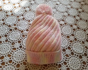 Whirlpool hand knitted baby bonnet size 3/6 months