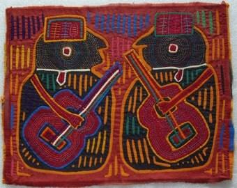 Vintage MOLA- HANDMADE by Kuna Indians from San Blas Islands of Panama - GUITARS