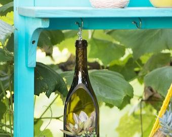 SALE- Hanging Wine Bottle Planter / Hanging Succulent Planter / Hanging Plants / Wine Gifts / Hanging Planter / Succulent Terrarium