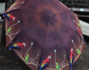Potty about Parrots. Art umbrella.