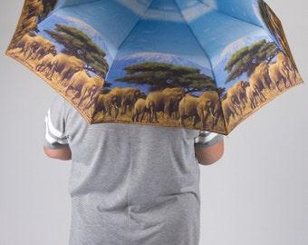 Elephants on parade. Art umbrella