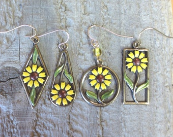 Hand Painted Black Eyed Susan Earrings, Vineyard Jewelry, Yellow Daisy, Hippie Chick, Flower, Brass Charm, Lightweight