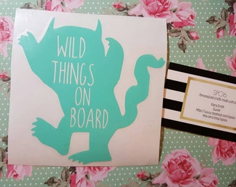 wild things on board car decal,where the wild things are,kids on board,car,decal,mom car,family car,baby on board,kids on board,cute decal
