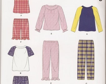 New Look 0388 6406 sewing pattern kids' pajamas tops bottoms sizes 1/2-8 UNCUT