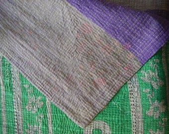 Vintage Indian Kantha throw in green and purple