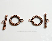 Great Quality, Antique Copper Pewter Twisted Rope Toggle, Necklace and/or Bracelet Jewelry Finding, Bead Supply