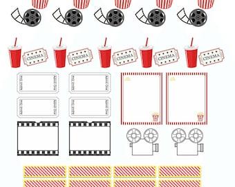 PRINTABLE Movie night sticker set