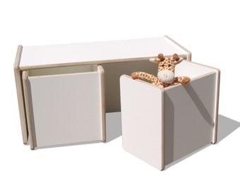 1 children turn table and 2 turn stool set-2mount - white