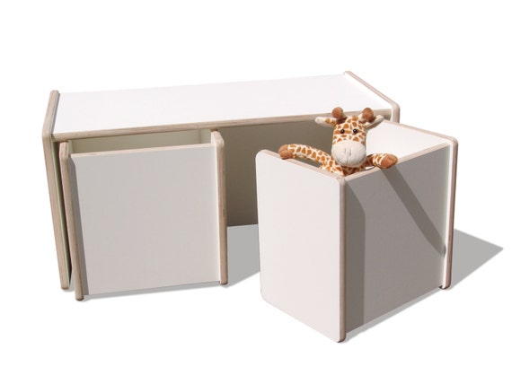 1 bambini girare a tavola e 2 a sgabello set 2mount bianco. Black Bedroom Furniture Sets. Home Design Ideas