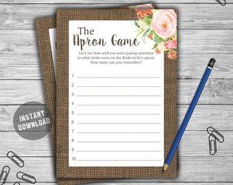 Burlap Floral - Bridal Shower - Apron Game - Game - Cards - Printable - DIY - Instant Download - The Apron Game L22