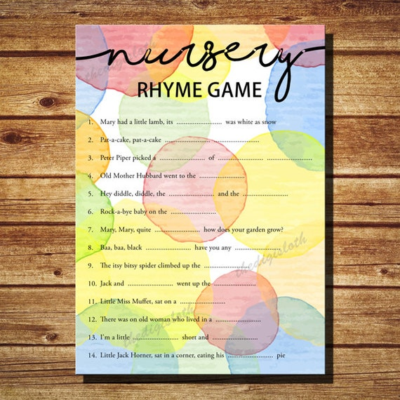 baby shower nursery rhyme game printable watercolor dots nursery