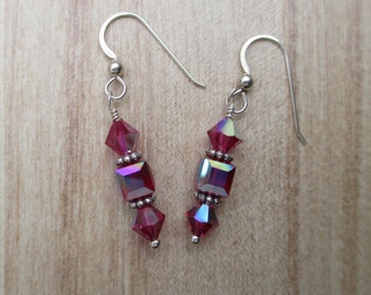 Raspberry pink Swarovski bicone and cube crystals on sterling silver ear wires