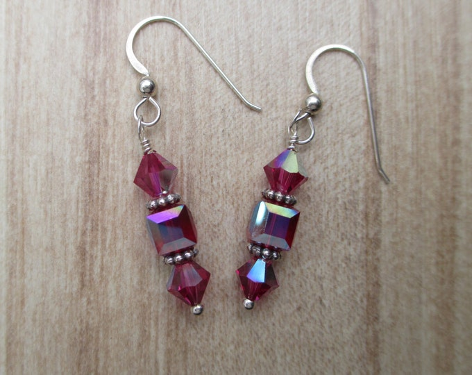 handmade raspberry pink Swarovski bicone and cube crystals on sterling silver ear wires