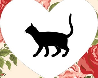 Black Cat, Heart, Cat Silhouette, Printable Art